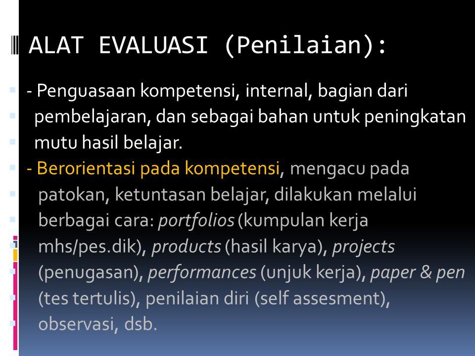 ALAT EVALUASI (Penilaian):  - Penguasaan kompetensi, internal, bagian dari  pembelajaran, dan sebagai bahan untuk peningkatan  mutu hasil belajar.