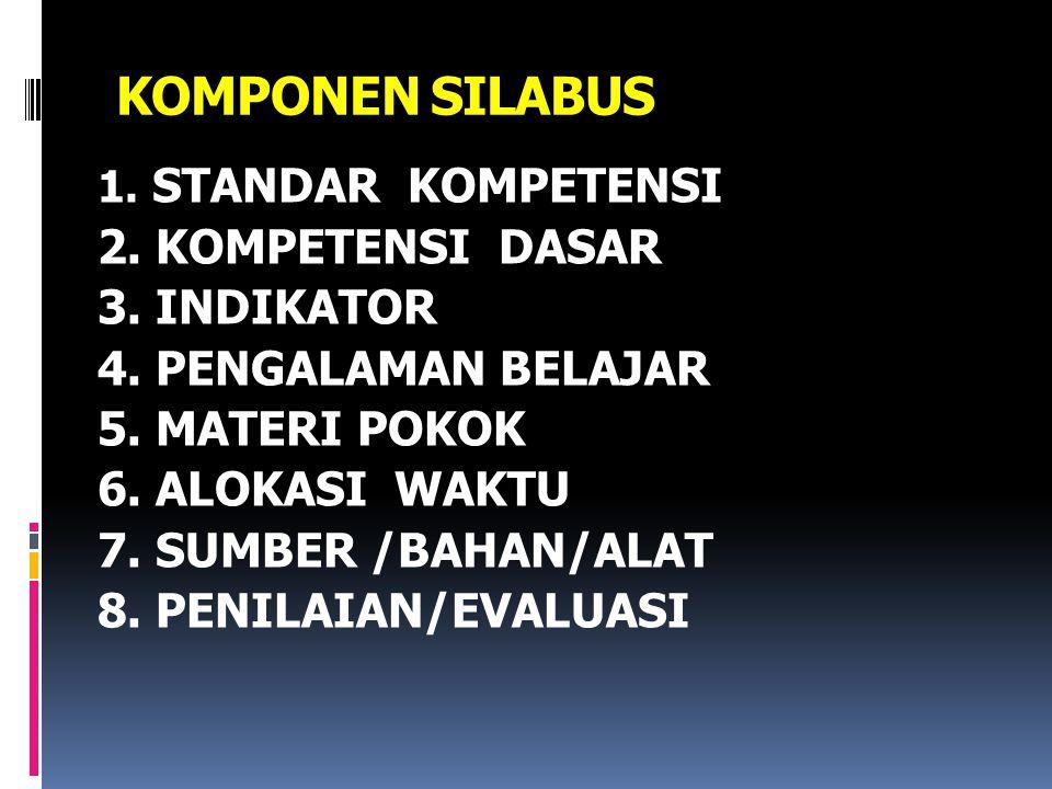 KOMPONEN SILABUS 1.STANDAR KOMPETENSI 2. KOMPETENSI DASAR 3.