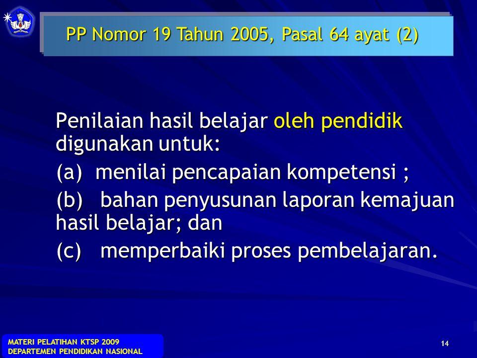MATERI PELATIHAN KTSP 2009 DEPARTEMEN PENDIDIKAN NASIONAL 13  Ulangan kenaikan kelas adalah kegiatan yang dilakukan oleh pendidik di akhir semester g