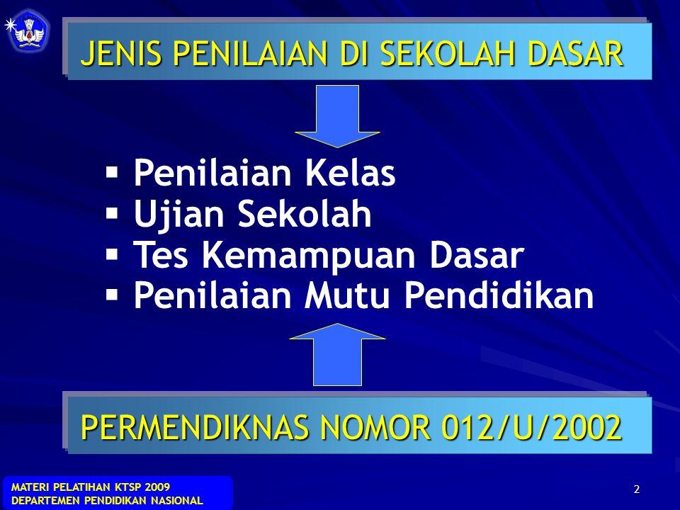 MATERI PELATIHAN KTSP 2009 DEPARTEMEN PENDIDIKAN NASIONAL 42  Tindak lanjut diberikan sebagai suatu tindakan terhadap analisis hasil penilaian.