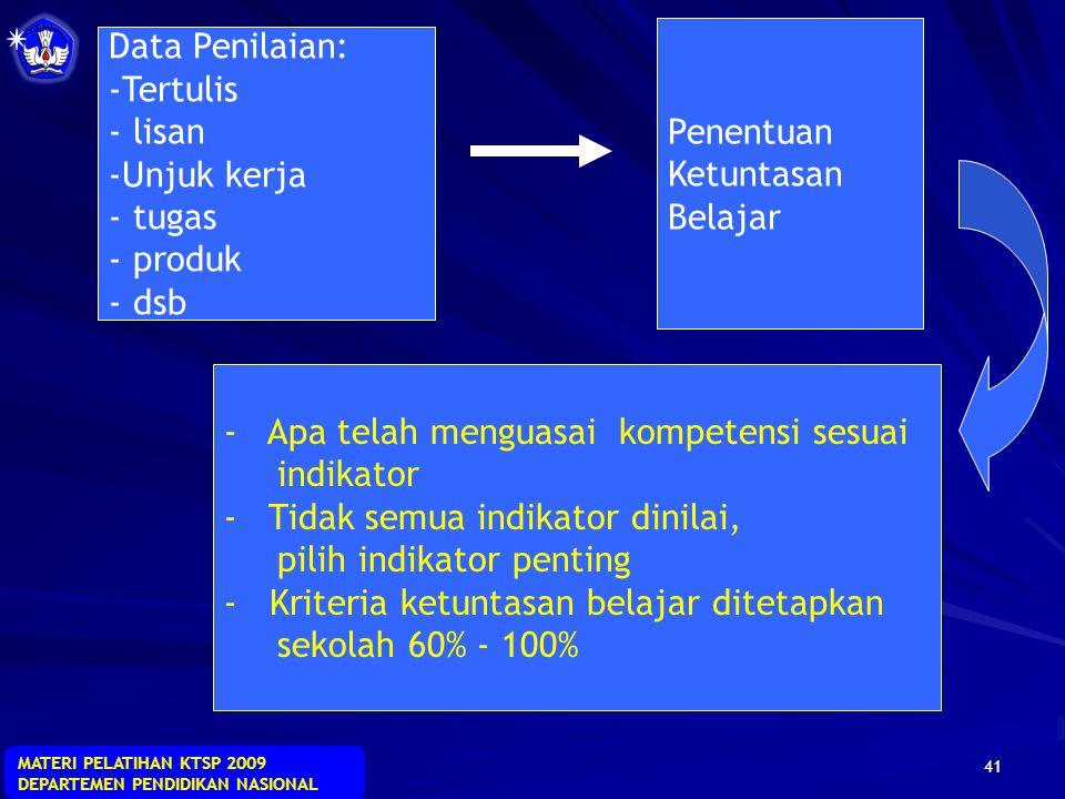 MATERI PELATIHAN KTSP 2009 DEPARTEMEN PENDIDIKAN NASIONAL 40 penilaian pendidik mencakup informasi mengenai hasil penilaian tertulis, penilaian lisan,
