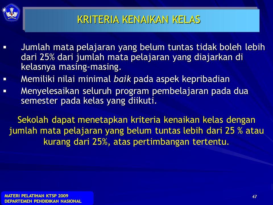 MATERI PELATIHAN KTSP 2009 DEPARTEMEN PENDIDIKAN NASIONAL 46 Nilai rapor Semester I = = 67 PERHITUNGAN