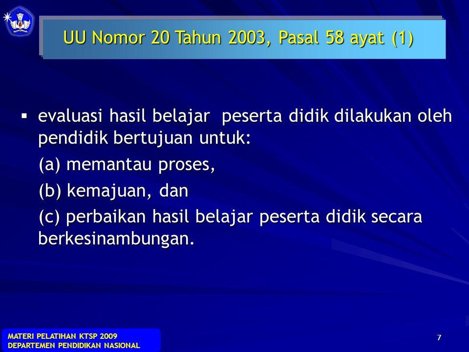 MATERI PELATIHAN KTSP 2009 DEPARTEMEN PENDIDIKAN NASIONAL 17  Untuk memberikan umpan balik bagi peserta didik agar mengetahui kekuatan dan kelemahannya dalam proses pencapaian kompetensi.