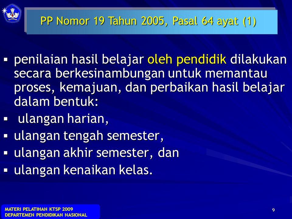 MATERI PELATIHAN KTSP 2009 DEPARTEMEN PENDIDIKAN NASIONAL 39 1.Valid, 2.Objektif, 3.Transparan, 4.Adil 5.Terpadu 6.Menyeluruh dan berkesinambungan 7.Bermakna 8.Sistematis 9.Akuntabel 10.Beracuan kriteria PRINSIP PENILAIAN