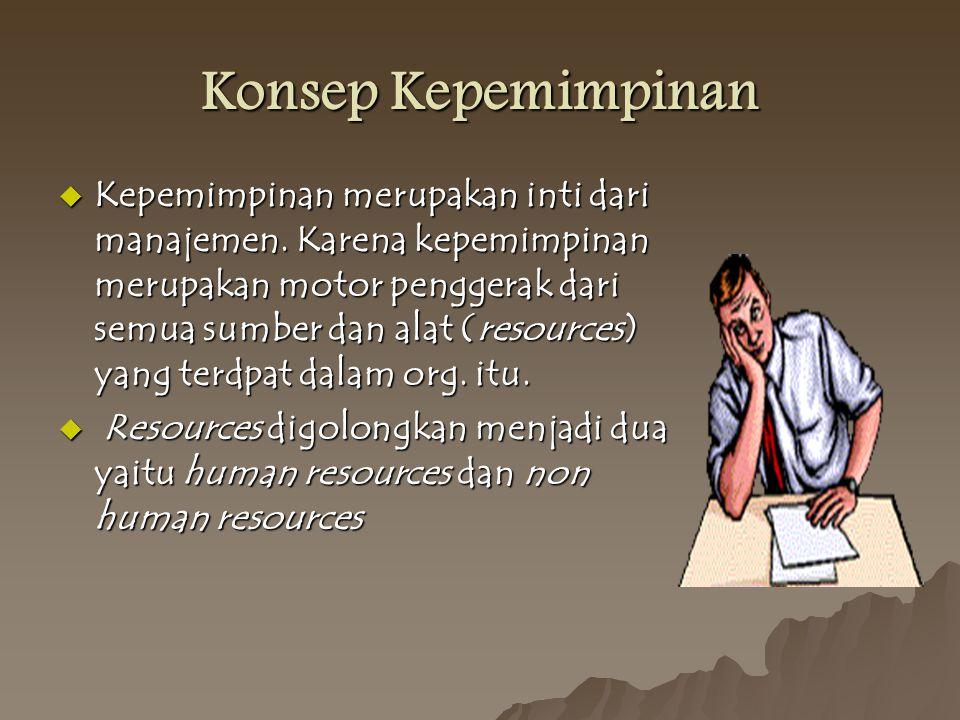 Konsep Kepemimpinan  Kepemimpinan merupakan inti dari manajemen.