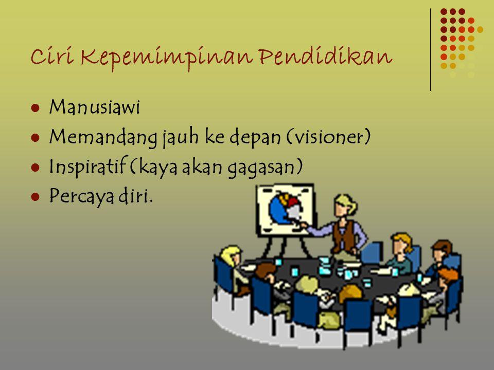 Ciri Kepemimpinan Pendidikan Manusiawi Memandang jauh ke depan (visioner) Inspiratif (kaya akan gagasan) Percaya diri.