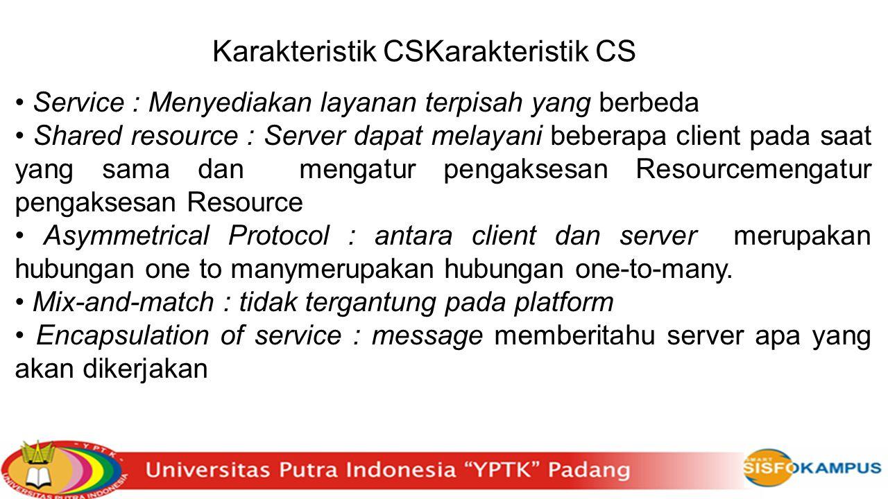 Karakteristik CSKarakteristik CS Service : Menyediakan layanan terpisah yang berbeda Shared resource : Server dapat melayani beberapa client pada saat