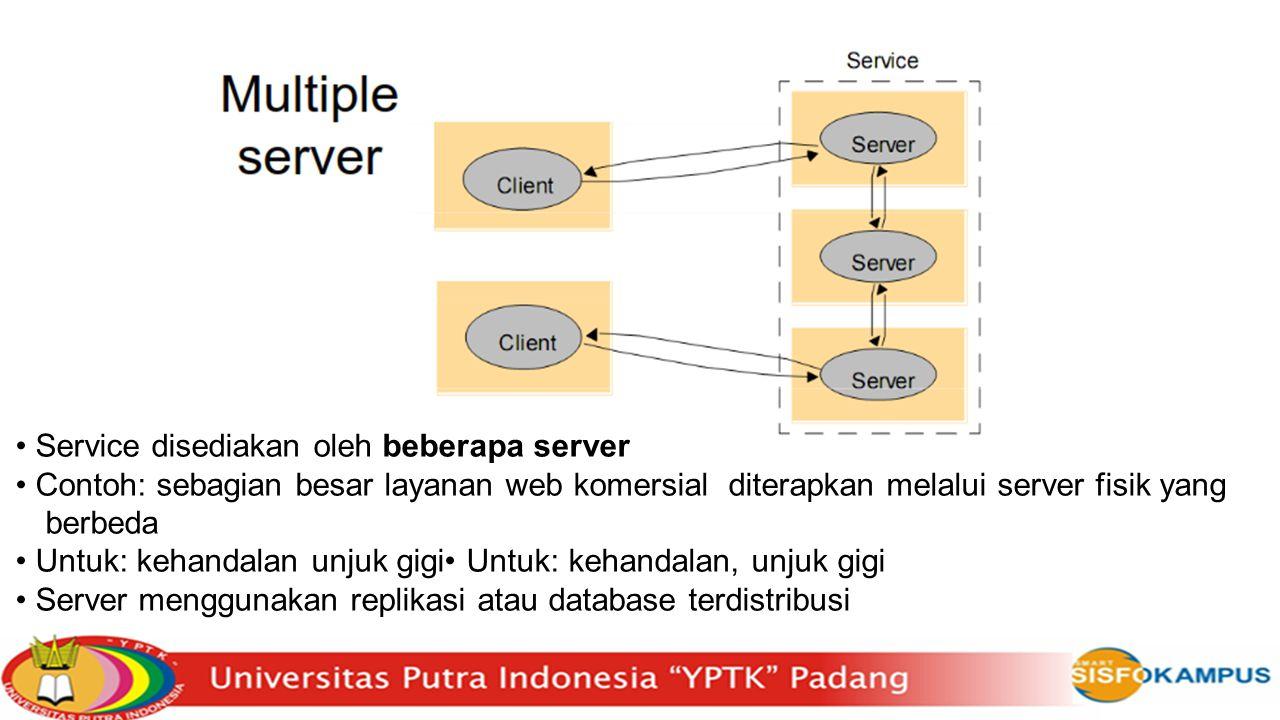 Service disediakan oleh beberapa server Contoh: sebagian besar layanan web komersial diterapkan melalui server fisik yang berbeda Untuk: kehandalan un