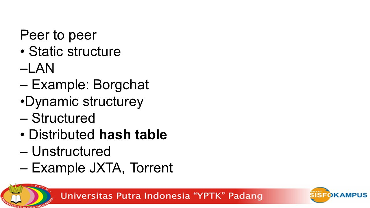 Peer to peer Static structure –LAN – Example: Borgchat Dynamic structurey – Structured Distributed hash table – Unstructured – Example JXTA, Torrent
