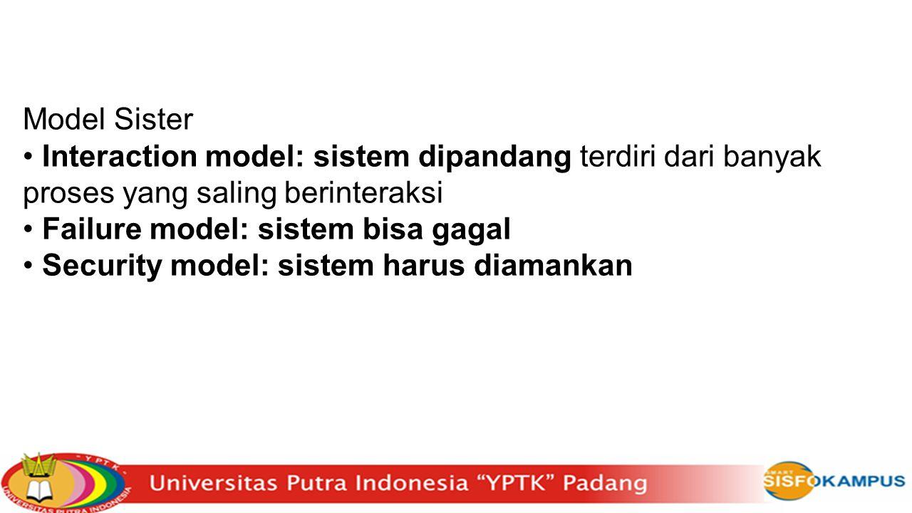 Model Sister Interaction model: sistem dipandang terdiri dari banyak proses yang saling berinteraksi Failure model: sistem bisa gagal Security model:
