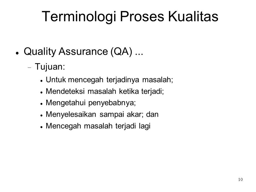 10 Terminologi Proses Kualitas Quality Assurance (QA)...  Tujuan: Untuk mencegah terjadinya masalah; Mendeteksi masalah ketika terjadi; Mengetahui pe