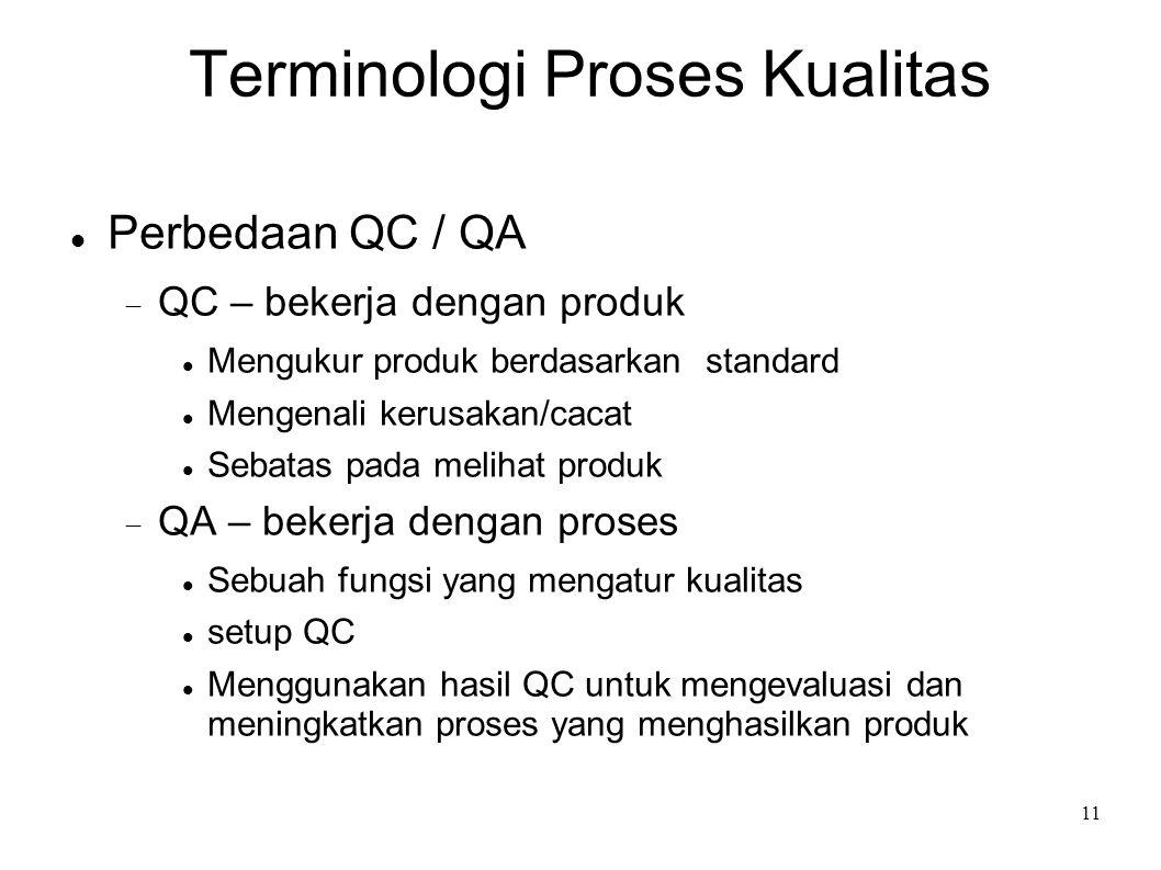 11 Terminologi Proses Kualitas Perbedaan QC / QA  QC – bekerja dengan produk Mengukur produk berdasarkan standard Mengenali kerusakan/cacat Sebatas p