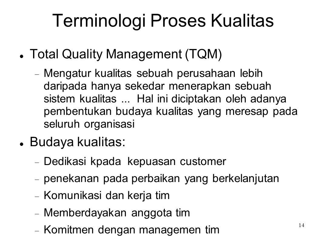 14 Terminologi Proses Kualitas Total Quality Management (TQM)  Mengatur kualitas sebuah perusahaan lebih daripada hanya sekedar menerapkan sebuah sis