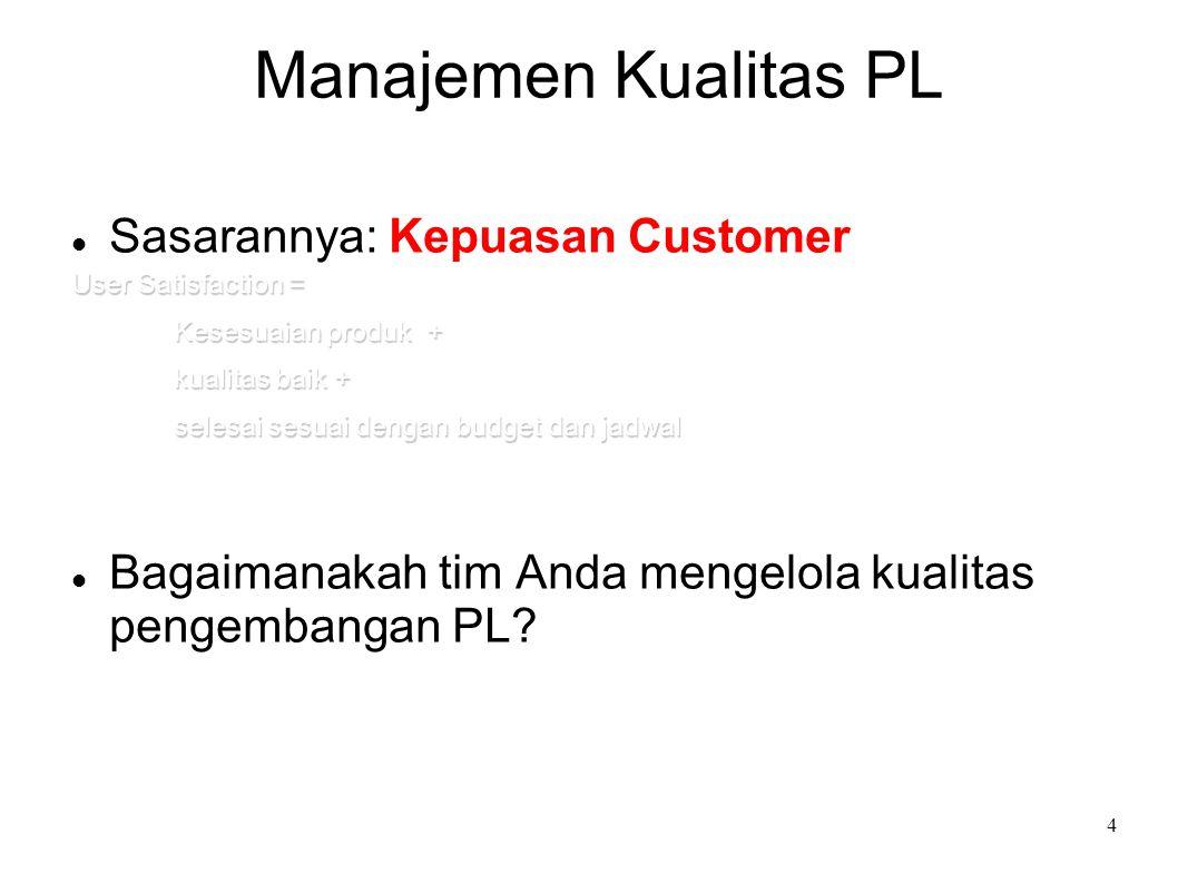 4 Manajemen Kualitas PL Sasarannya: Kepuasan Customer User Satisfaction = Kesesuaian produk + kualitas baik + selesai sesuai dengan budget dan jadwal