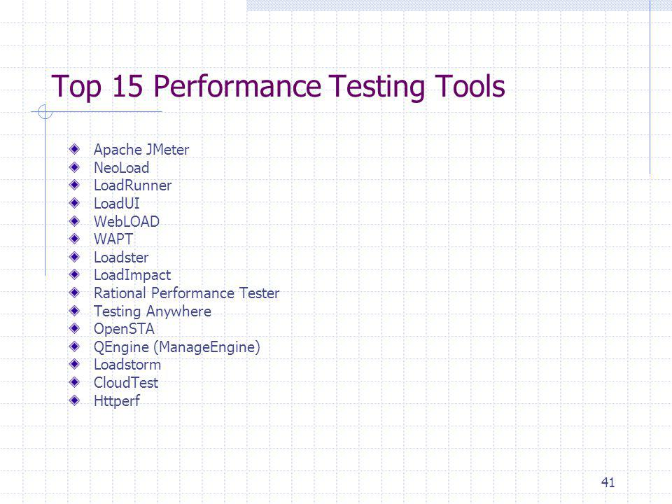 Top 15 Performance Testing Tools Apache JMeter NeoLoad LoadRunner LoadUI WebLOAD WAPT Loadster LoadImpact Rational Performance Tester Testing Anywhere
