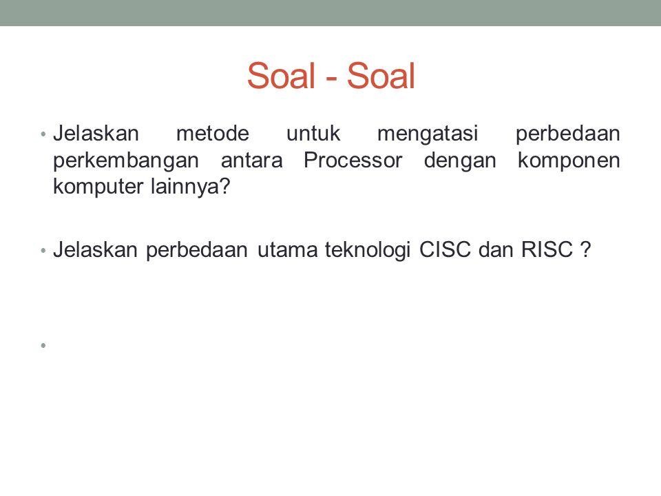Soal - Soal Jelaskan metode untuk mengatasi perbedaan perkembangan antara Processor dengan komponen komputer lainnya.