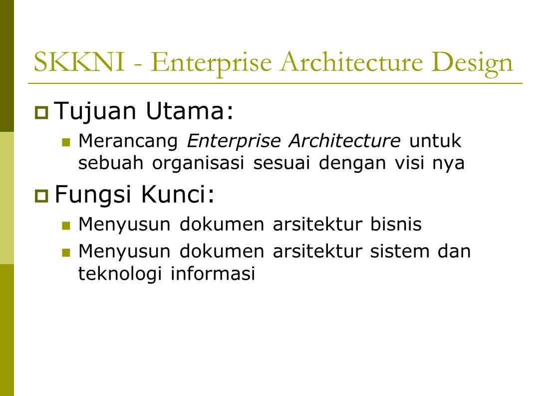 SKKNI - Enterprise Architecture Design  Tujuan Utama: Merancang Enterprise Architecture untuk sebuah organisasi sesuai dengan visi nya  Fungsi Kunci: Menyusun dokumen arsitektur bisnis Menyusun dokumen arsitektur sistem dan teknologi informasi
