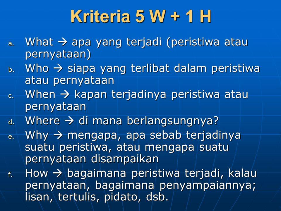 Kriteria 5 W + 1 H a. What  apa yang terjadi (peristiwa atau pernyataan) b. Who  siapa yang terlibat dalam peristiwa atau pernyataan c. When  kapan