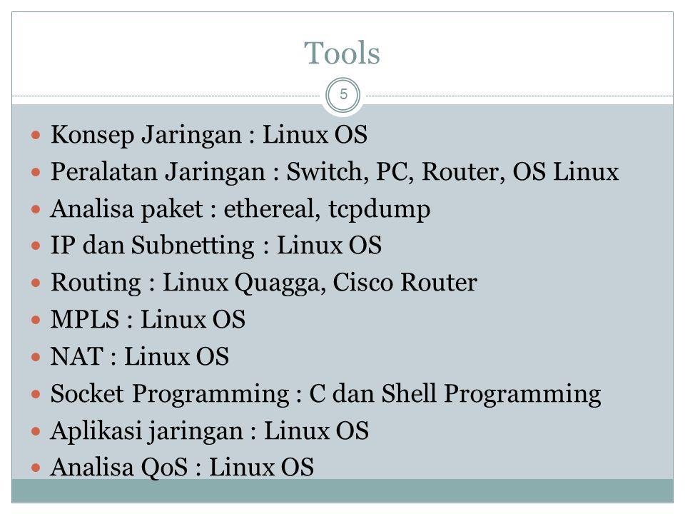 Tools Konsep Jaringan : Linux OS Peralatan Jaringan : Switch, PC, Router, OS Linux Analisa paket : ethereal, tcpdump IP dan Subnetting : Linux OS Rout