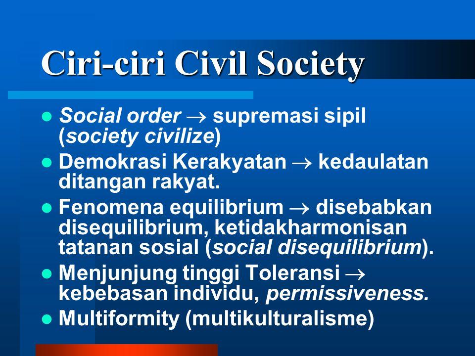 Ciri-ciri Civil Society Social order  supremasi sipil (society civilize) Demokrasi Kerakyatan  kedaulatan ditangan rakyat.