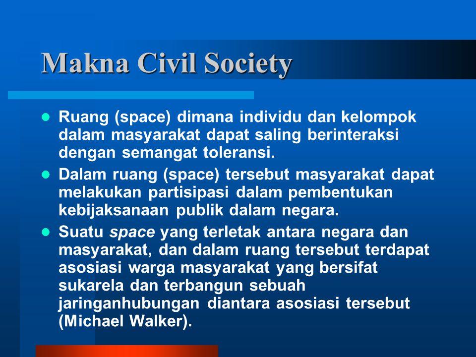 Makna Civil Society Ruang (space) dimana individu dan kelompok dalam masyarakat dapat saling berinteraksi dengan semangat toleransi.