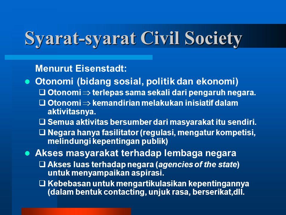 Syarat-syarat Civil Society Menurut Eisenstadt: Otonomi (bidang sosial, politik dan ekonomi)  Otonomi  terlepas sama sekali dari pengaruh negara.