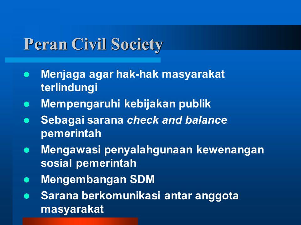 Peran Civil Society Menjaga agar hak-hak masyarakat terlindungi Mempengaruhi kebijakan publik Sebagai sarana check and balance pemerintah Mengawasi penyalahgunaan kewenangan sosial pemerintah Mengembangan SDM Sarana berkomunikasi antar anggota masyarakat