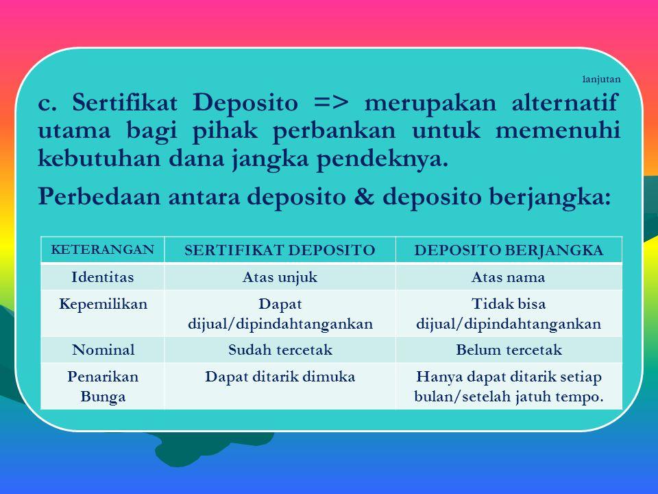 lanjutan b. Sertifikat Bank Indonesia (SBI) => merupakan surat berharga yang diterbitkan oleh Bank Sentral (BI). Penerbitan SBI dilakukan atas unjuk d