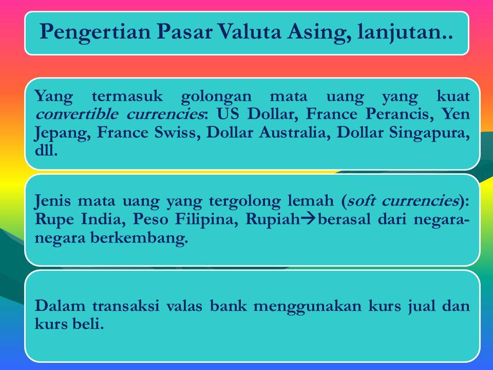 D.Pengertian Pasar Valuta Asing Pasar di mana transaksi valuta asing dilakukan baik antarnegara maupun dalam suatu negara .