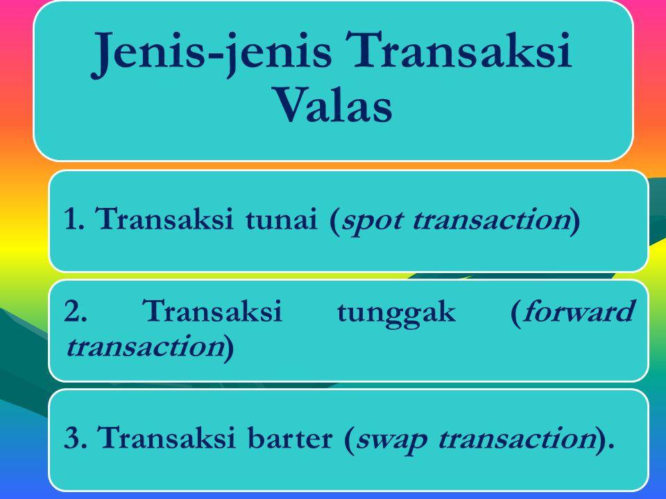 E.Tujuan Melakukan Transaksi Valas 1. Untuk transaksi pembayaran2. Mempertahankan daya beli3. Pengiriman uang ke luar negeri4. Mencari keuntungan5. Pe