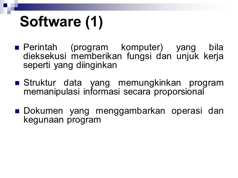 Software (1) Perintah (program komputer) yang bila dieksekusi memberikan fungsi dan unjuk kerja seperti yang diinginkan Struktur data yang memungkinka