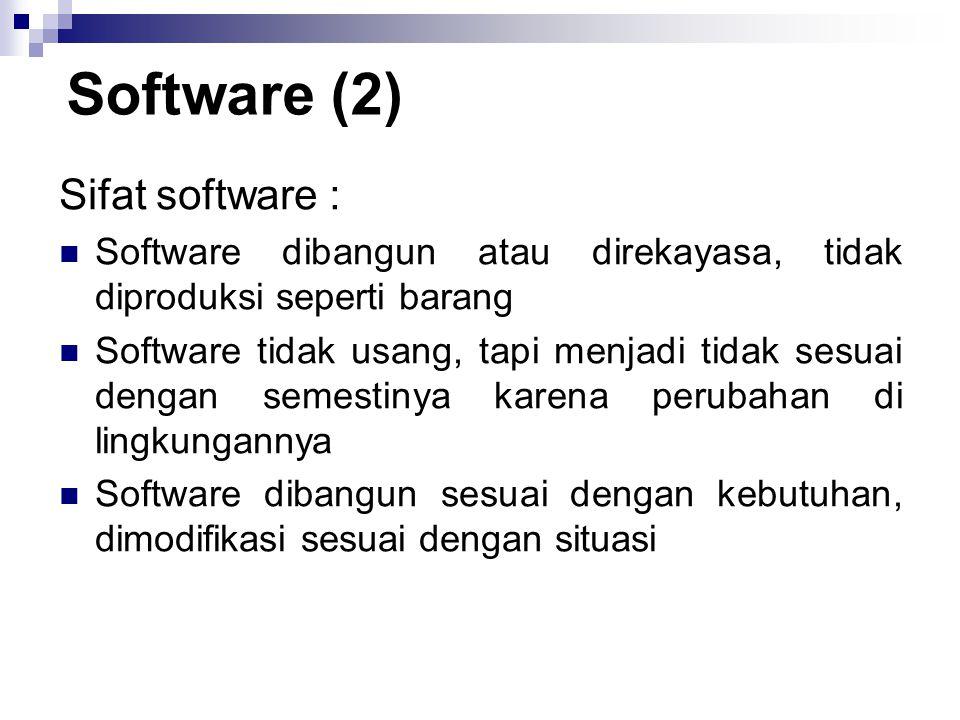 Sifat software : Software dibangun atau direkayasa, tidak diproduksi seperti barang Software tidak usang, tapi menjadi tidak sesuai dengan semestinya karena perubahan di lingkungannya Software dibangun sesuai dengan kebutuhan, dimodifikasi sesuai dengan situasi Software (2)