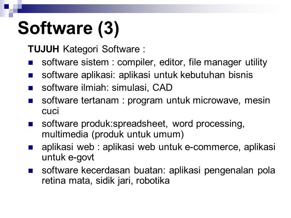 Software (3) TUJUH Kategori Software : software sistem : compiler, editor, file manager utility software aplikasi: aplikasi untuk kebutuhan bisnis sof