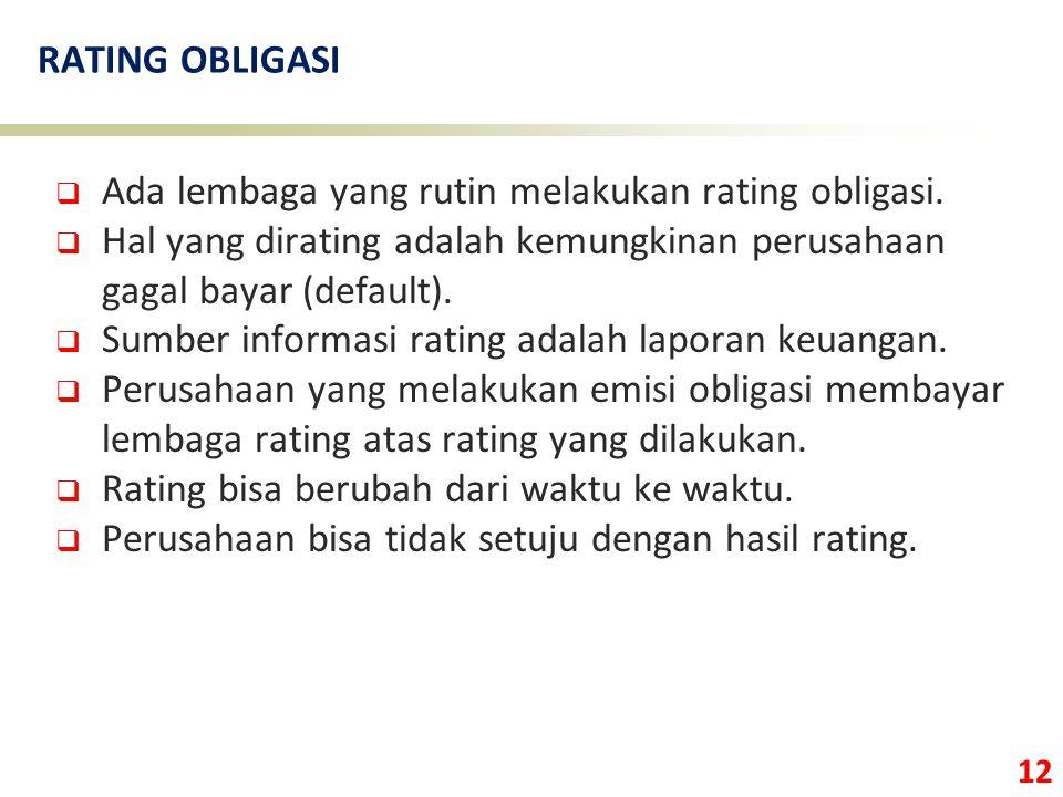 12 RATING OBLIGASI  Ada lembaga yang rutin melakukan rating obligasi.