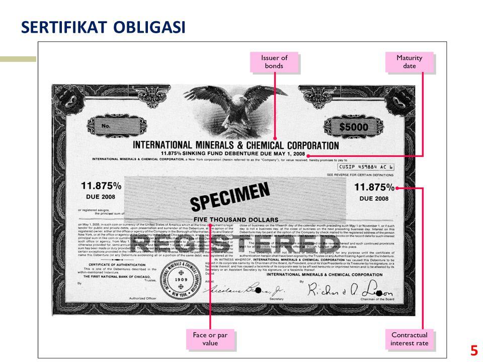 6 FITUR OBLIGASI  Nilai nominal (par value) – nilai yang tertulis di sertifikat obligasi.