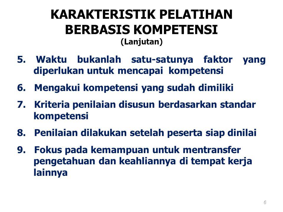 KARAKTERISTIK PELATIHAN BERBASIS KOMPETENSI 1.