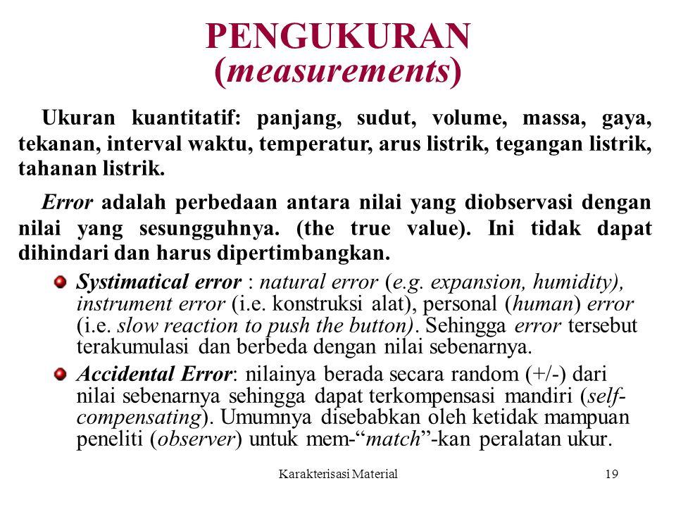 Karakterisasi Material19 PENGUKURAN (measurements) Systimatical error : natural error (e.g. expansion, humidity), instrument error (i.e. konstruksi al