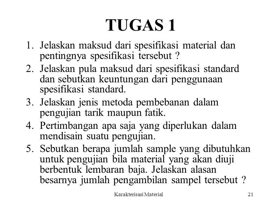 Karakterisasi Material21 TUGAS 1 1.Jelaskan maksud dari spesifikasi material dan pentingnya spesifikasi tersebut ? 2.Jelaskan pula maksud dari spesifi