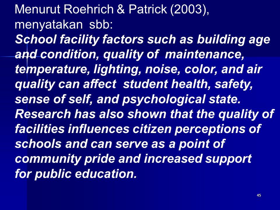 44 Pemanfaatan dan pengelolaan laboratorium IPA sebagai fasilitas sekolah harus memperhatikan faktor kondisi dan mutu fasilitas, karena kedua faktor t