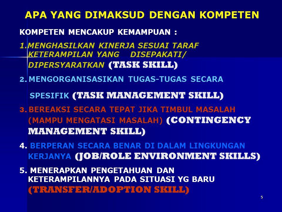 4 Task Skills: e.g. maju, mundur, belok kiri, kanan Task Management skills: Menyesuaikan kaca spion, tempat duduk, Contingency Management Skills: e.g.