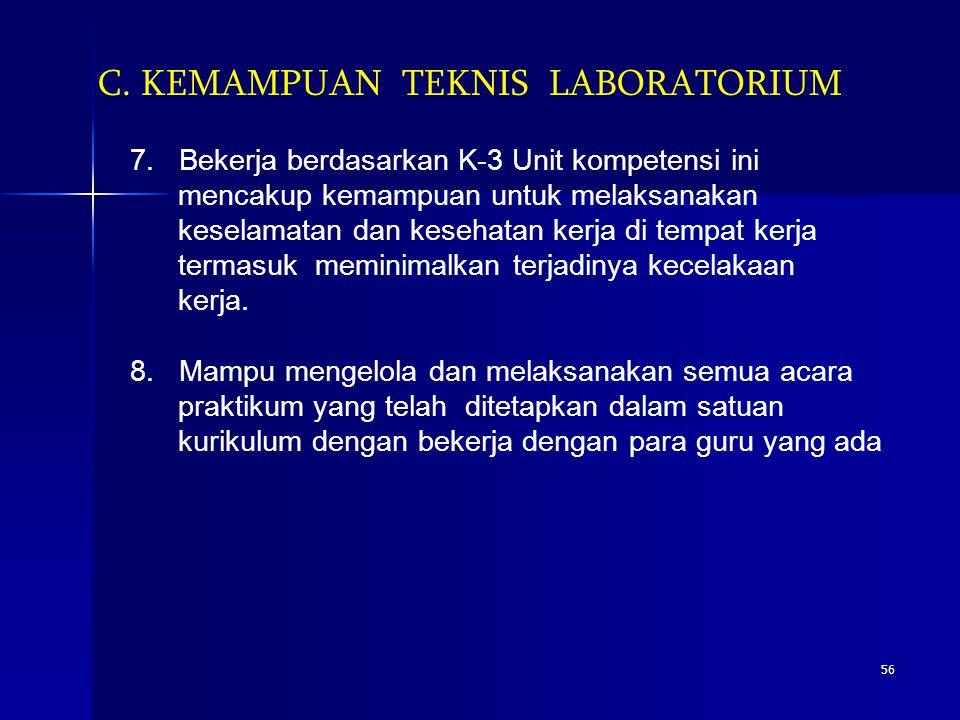55 C. KEMAMPUAN TEKNIS LABORATORIUM 5. Mampu menangani sampel/bahan praktikum Unit kompetensi ini mencakup kemampuan untuk mendapatkan sampel/bahan ya