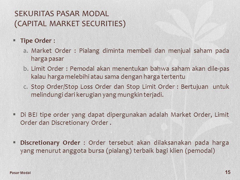 Pasar Modal 15 SEKURITAS PASAR MODAL (CAPITAL MARKET SECURITIES)  Tipe Order : a.Market Order : Pialang diminta membeli dan menjual saham pada harga