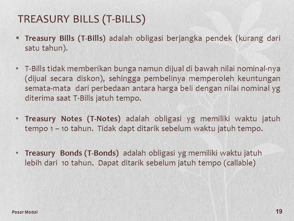 Pasar Modal 19 TREASURY BILLS (T-BILLS)  Treasury Bills (T-Bills) adalah obligasi berjangka pendek (kurang dari satu tahun). T-Bills tidak memberikan