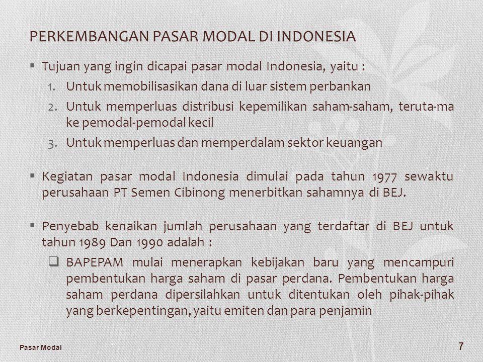 Pasar Modal 7 PERKEMBANGAN PASAR MODAL DI INDONESIA  Tujuan yang ingin dicapai pasar modal Indonesia, yaitu : 1.Untuk memobilisasikan dana di luar si