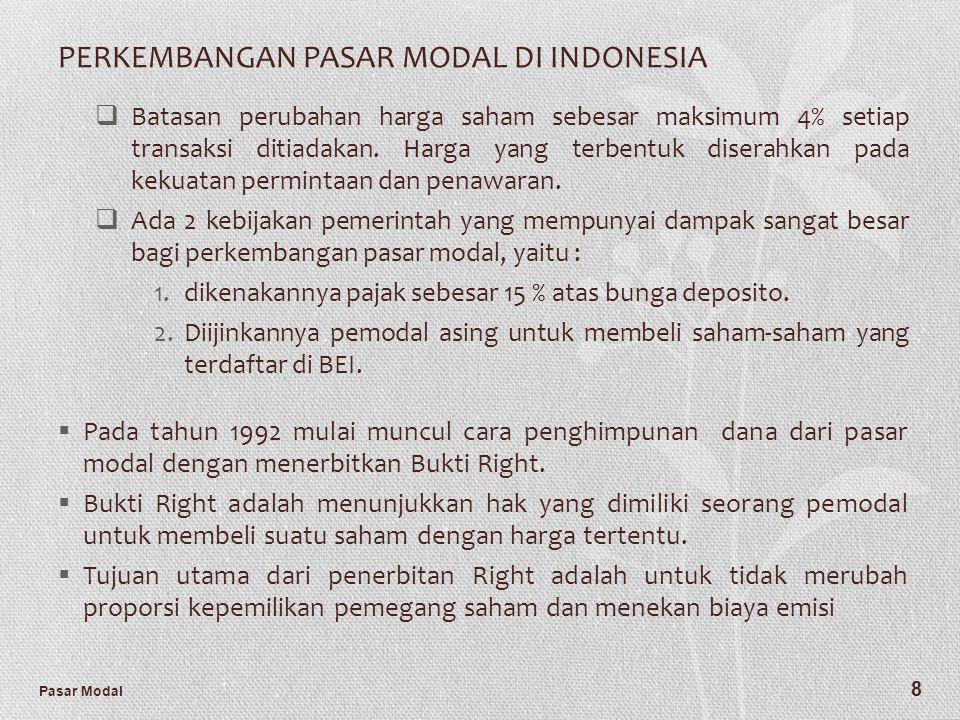Pasar Modal 8 PERKEMBANGAN PASAR MODAL DI INDONESIA  Batasan perubahan harga saham sebesar maksimum 4% setiap transaksi ditiadakan. Harga yang terben