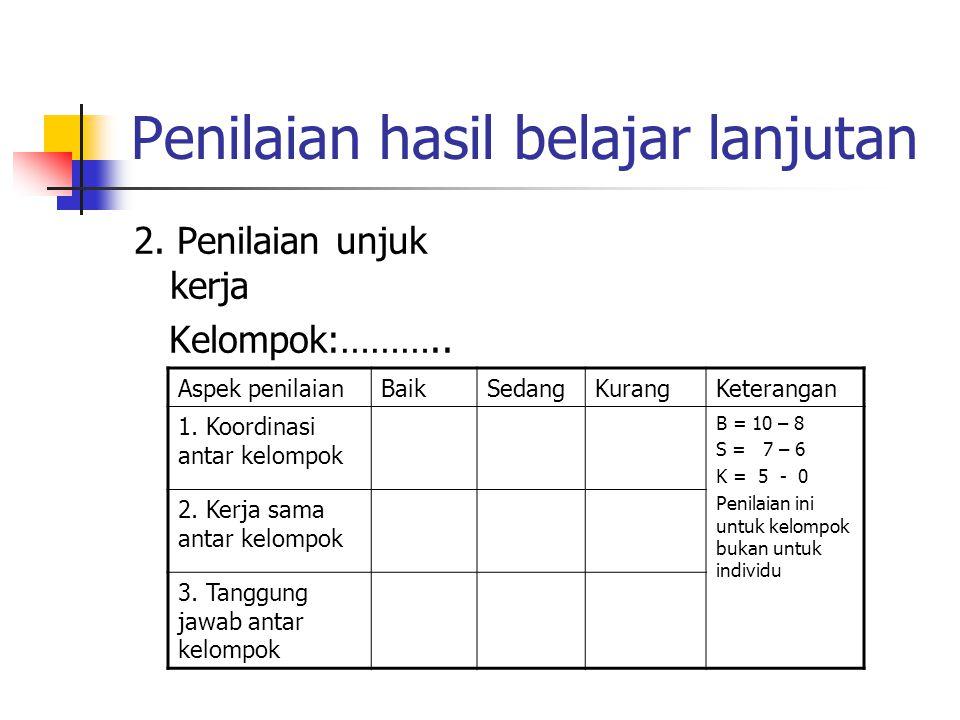 Penilaian hasil belajar lanjutan 2. Penilaian unjuk kerja Kelompok:……….. Aspek penilaianBaikSedangKurangKeterangan 1. Koordinasi antar kelompok B = 10