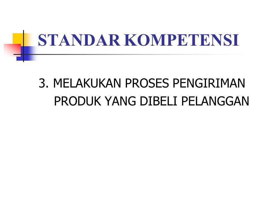 STANDAR KOMPETENSI 3. MELAKUKAN PROSES PENGIRIMAN PRODUK YANG DIBELI PELANGGAN