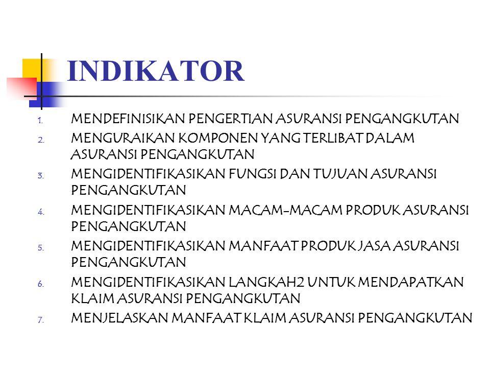 INDIKATOR 1. MENDEFINISIKAN PENGERTIAN ASURANSI PENGANGKUTAN 2. MENGURAIKAN KOMPONEN YANG TERLIBAT DALAM ASURANSI PENGANGKUTAN 3. MENGIDENTIFIKASIKAN
