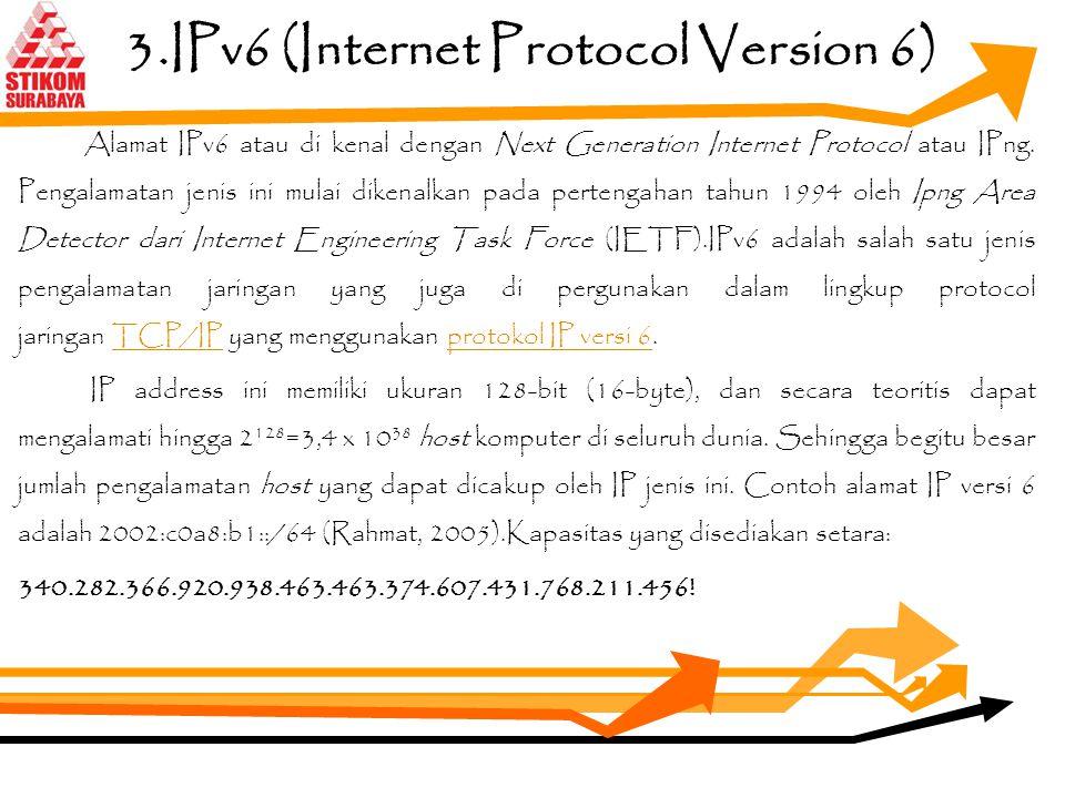 Lanjutan... Secara teori IPv4 ini mampu mencakup hingga 4 miliar host komputer yang di alamatkannya. Sehingga bila suatu saat batas kuota tersebut mel