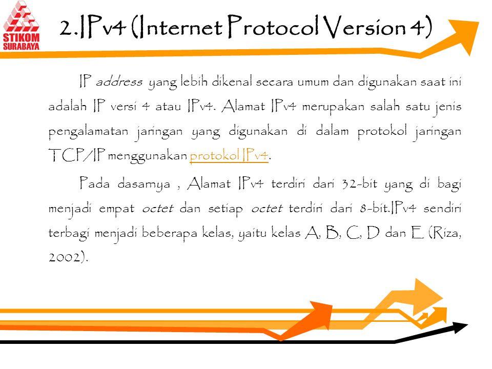 1.IP Address IP address dirancang untuk memungkinkan terjadinya suatu komunikasi antara sebuah komputer dalam suatu jaringan komputer dengan komputer-